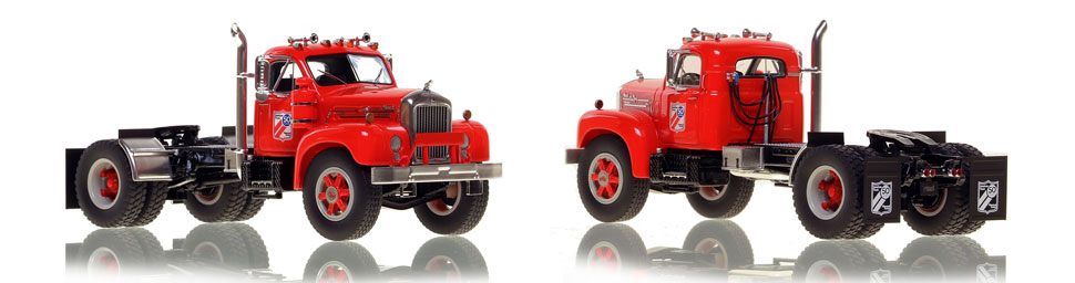 The first museum grade scale model of the Mack B-61 single axle tractor in the ATHS 2021 show model livery