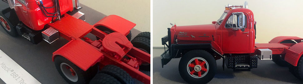 Closeup pictures 1-2 of the Mack B-81 scale model in red/black