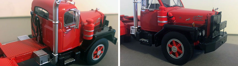Closeup pictures 3-4 of the Mack B-81 scale model in red/black