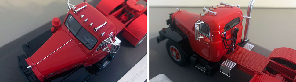 Closeup pictures 5-6 of the Mack B-81 scale model in red/black