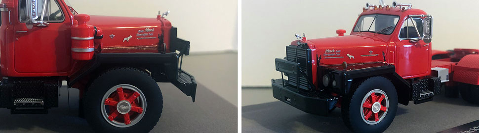 Closeup pictures 7-8 of the Mack B-81 scale model in red/black