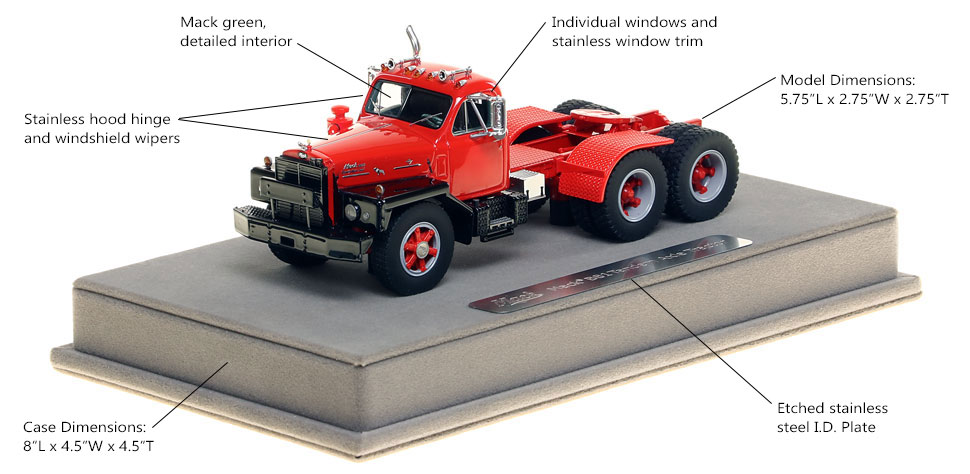 Features and Specs of the Mack B-81 tandem axle tractor