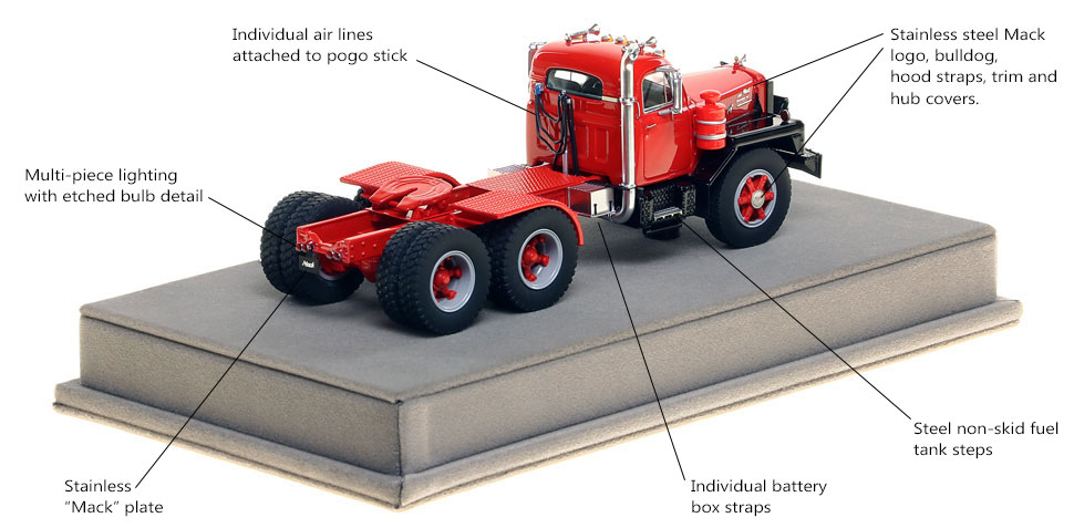 Specs and Features of the Mack B-81 tandem axle tractor
