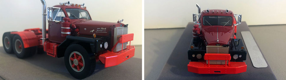 Closeup pictures 7-8 of the Mack B-81 scale model in burgundy over red