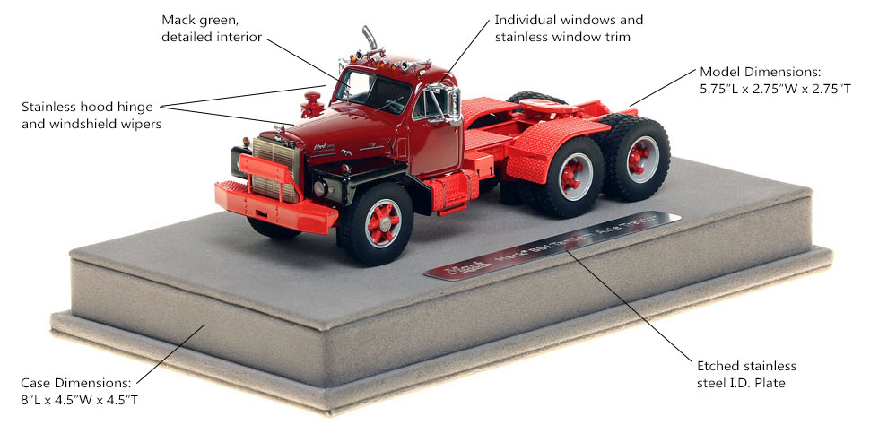 Mack B-81 tandem axle tractor scale model is hand-crafted and intricately detailed.