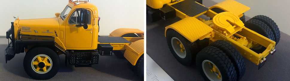 Closeup pictures 3-4 of the Mack B-81 scale model in yellow/black