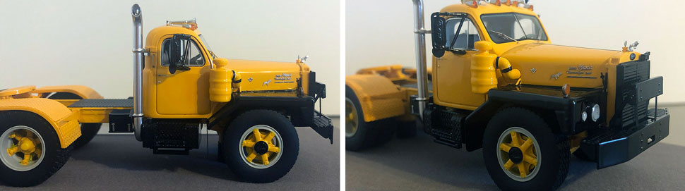 Closeup pictures 7-8 of the Mack B-81 scale model in yellow/black