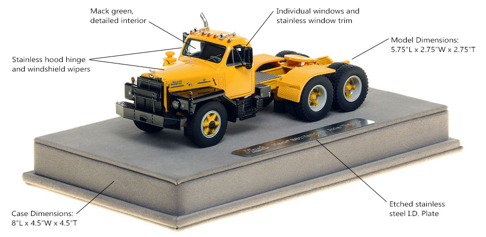 Features and Specs of the Mack B-81 tandem axle tractor in yellow.