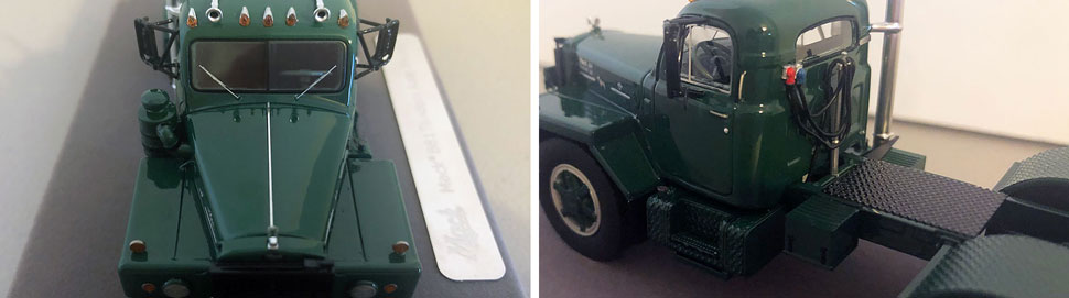 Closeup pictures 3-4 of the Mack B-81 scale model in Green