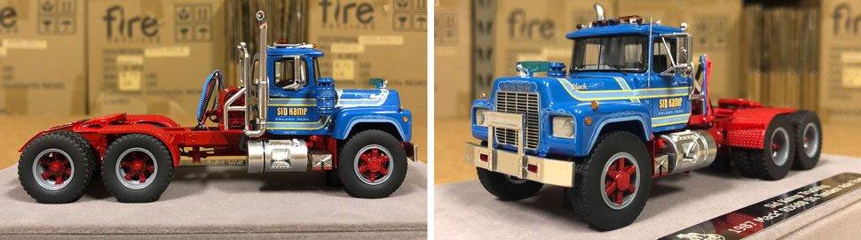 Closeup pictures 3-4 of the Mack RD688 SX scale model in Sid Kamp Trucking Livery