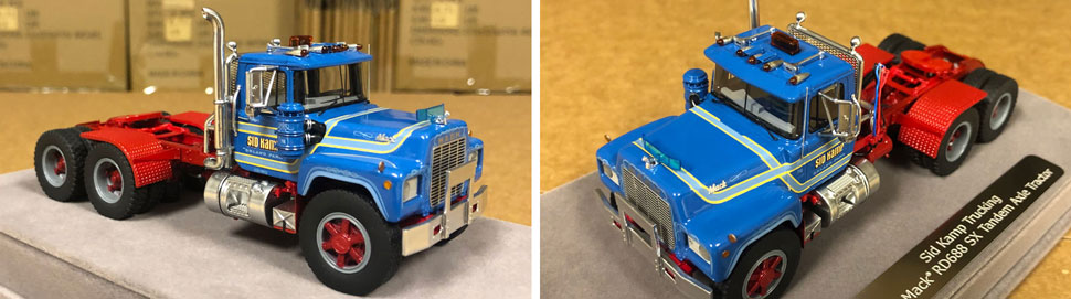 Closeup pictures 7-8 of the Mack RD688 SX scale model in Sid Kamp Livery.