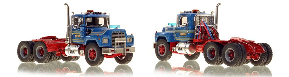 Mack R tandem axle tractor scale model is hand-crafted and intricately detailed.