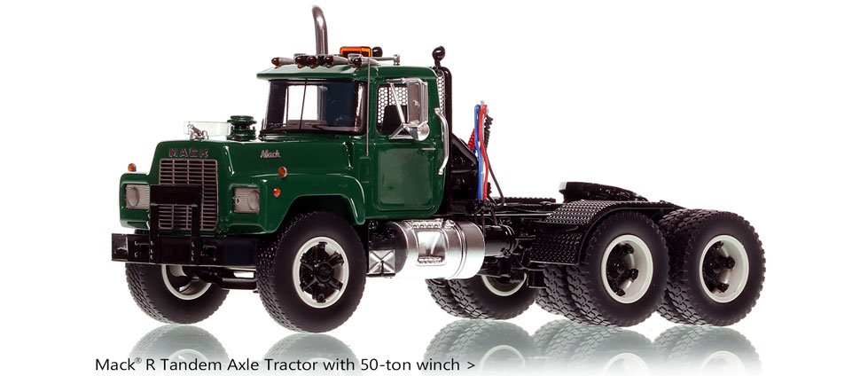 Order your Green over Black Mack R tandem axle scale model today!