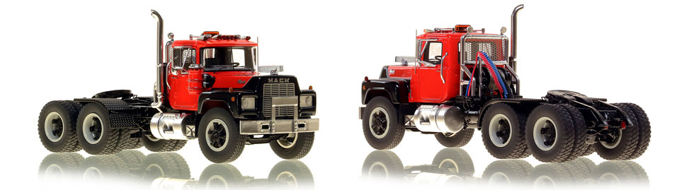 The first museum grade scale model of the Mack R tandem axle tractor in red over black