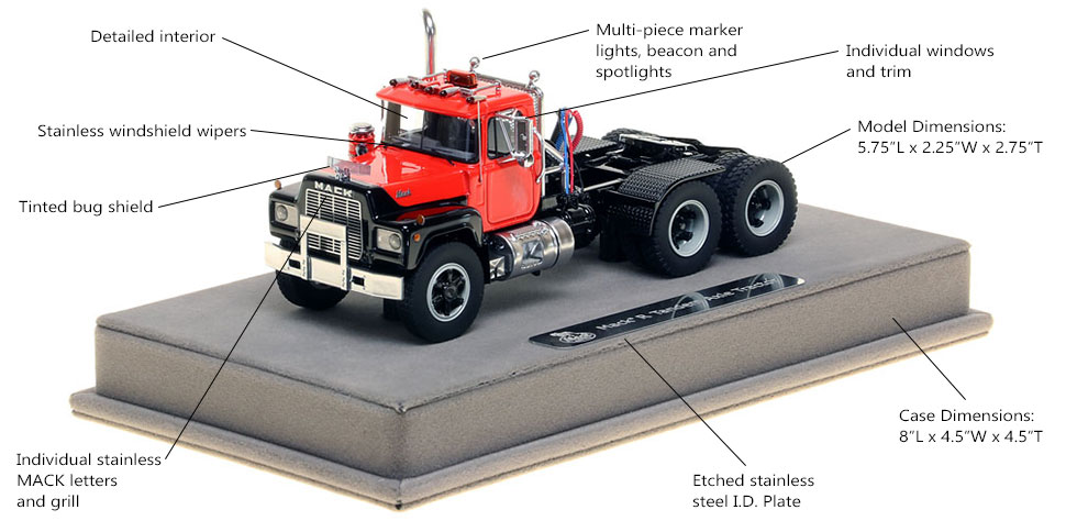 Features and Specs of the Mack R tandem axle tractor
