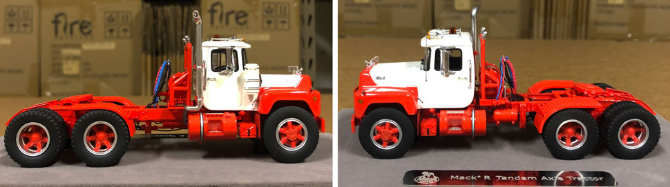 Closeup pictures 7-8 of the Mack R scale model in white over red