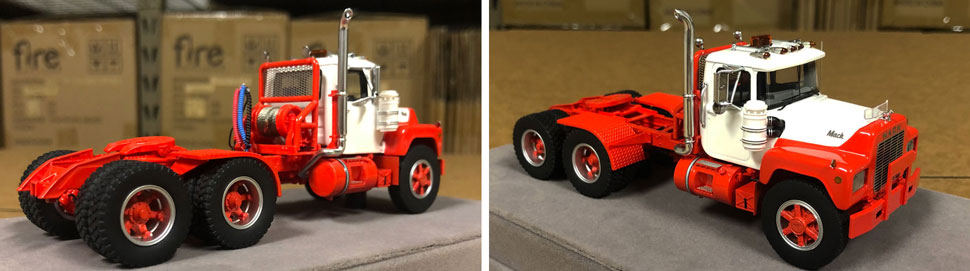 Closeup pictures 9-10 of the Mack R scale model in white over red