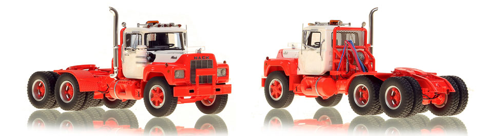 The first museum grade scale model of the Mack R tandem axle tractor in white over red