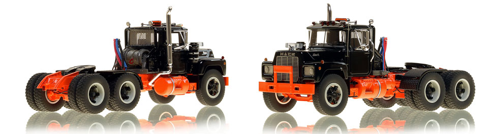 The first museum grade scale model of the Mack R tandem axle tractor in black over orange