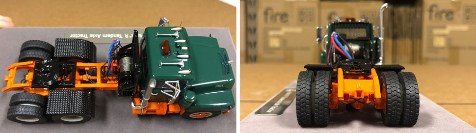 Closeup pictures 3-4 of the Mack R scale model in green over orange