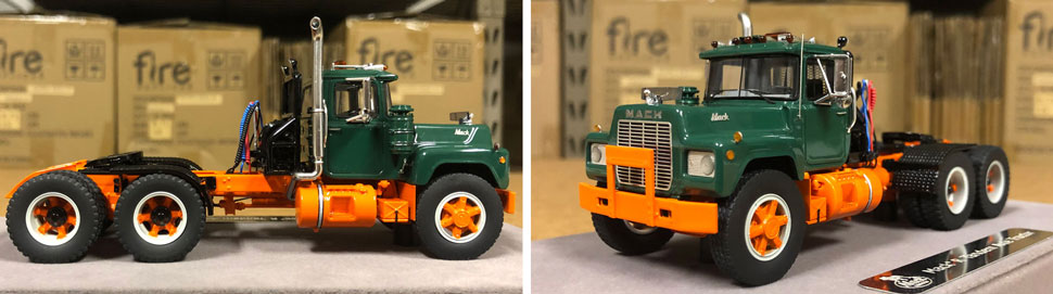 Closeup pictures 5-6 of the Mack R scale model in green over orange