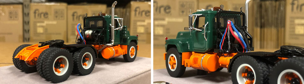 Closeup pictures 9-10 of the Mack R scale model in green over orange