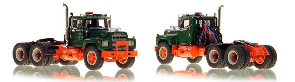 The first museum grade scale model of the Mack R tandem axle tractor in green over orange