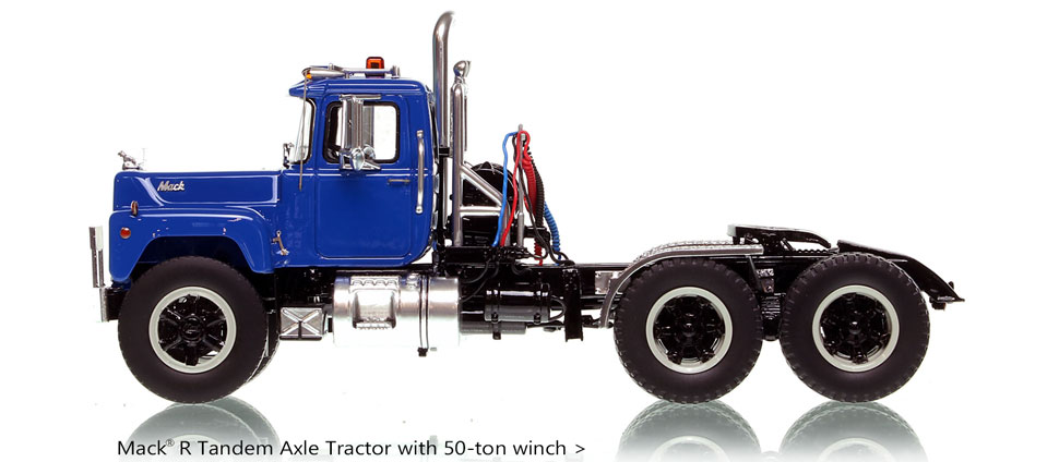 Order your Blue over Black Mack R tractor scale model today!
