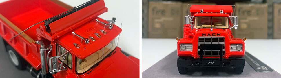 Closeup pictures 1-2 of the Mack R dump truck scale model in red over black.