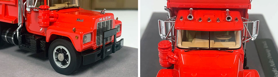 Closeup pictures 9-10 of the Mack R dump truck scale model in red over black.