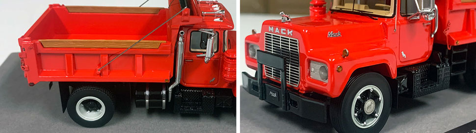 Closeup pictures 3-4 of the Mack R dump truck scale model in red over black.