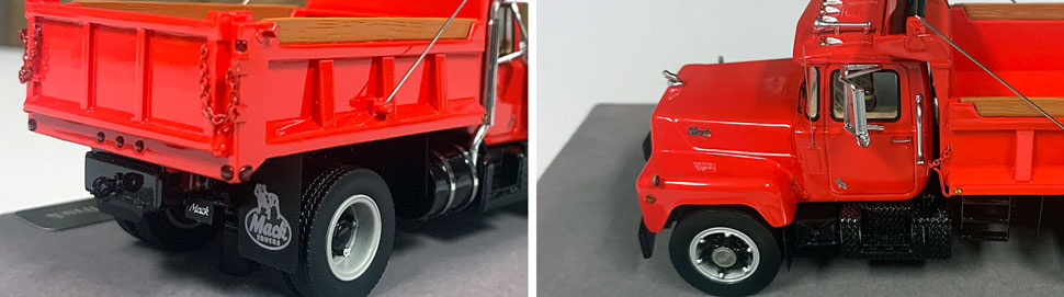 Closeup pictures 11-12 of the Mack R dump truck scale model in red over black.