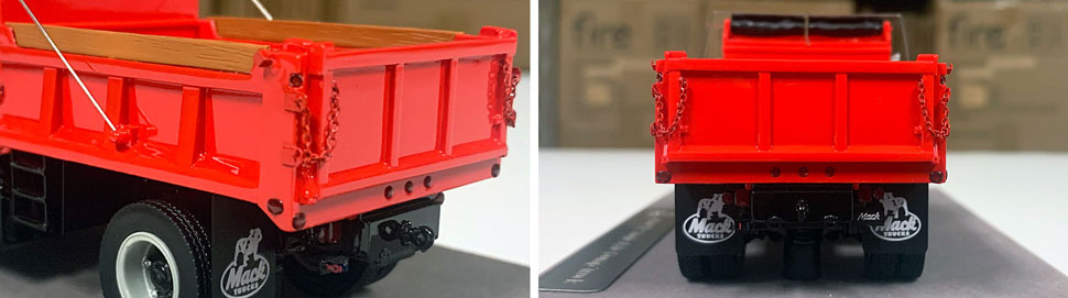 Closeup pictures 5-6 of the Mack R dump truck scale model in red over black.