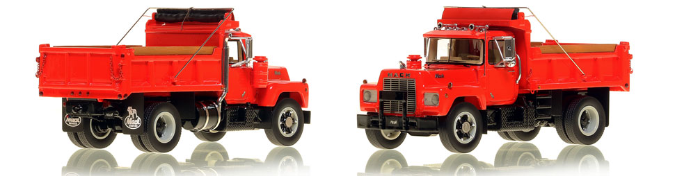 The first museum grade scale model of the Mack R single axle dump truck in red over black