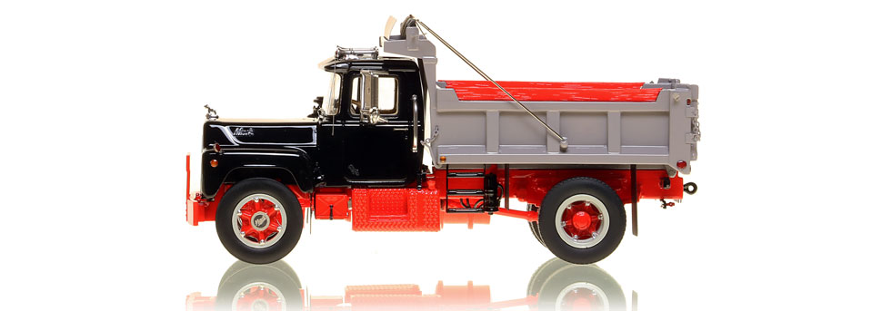 The first museum grade scale model of the Mack R single axle dump truck in black over red with grey dump