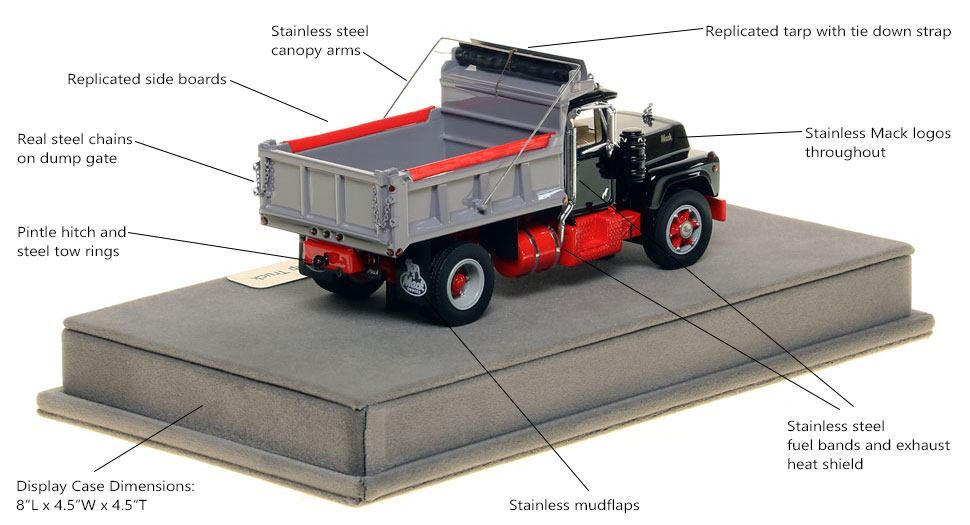 Specs and Features of the Mack R single axle dump truck scale model