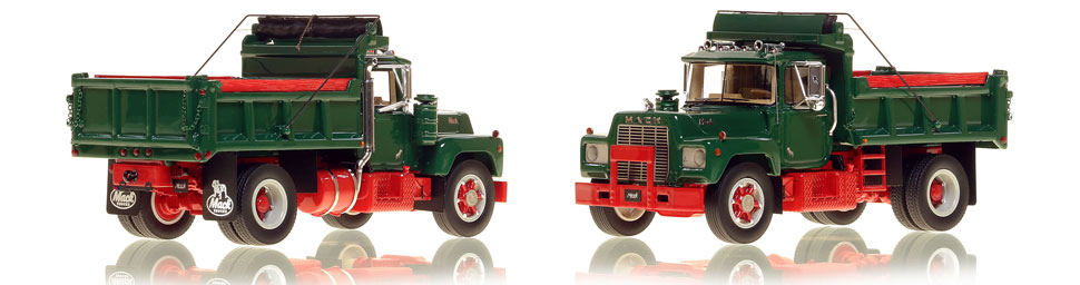 The first museum grade scale model of the Mack R single axle dump truck in green over red