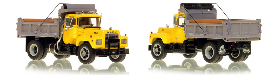 The first museum grade scale model of the Mack R single axle dump truck in yellow over black with grey dump
