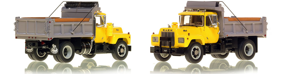 Mack R single axle dump truck scale model is hand-crafted and intricately detailed.