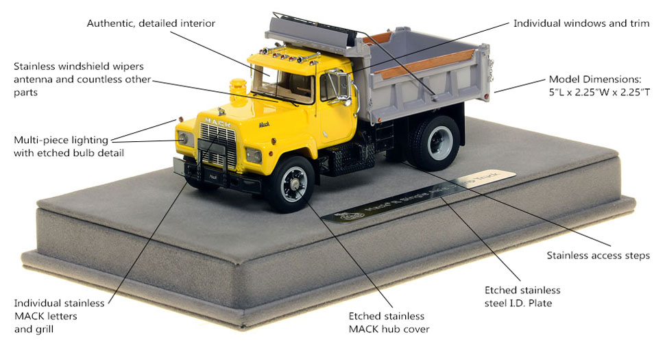 Features and Specs of the Mack R single axle dump truck scale model