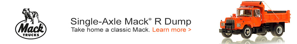 Mack R Single Axle Dump Truck in Orange over Black