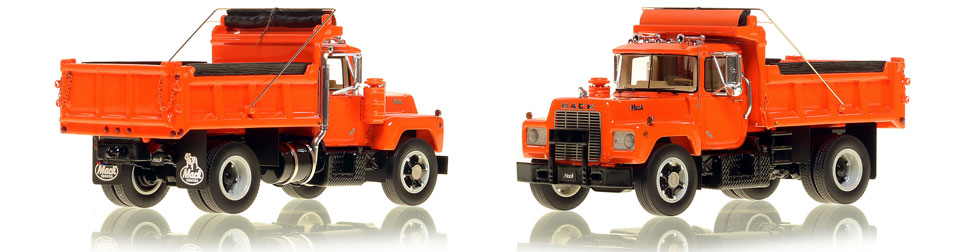 The first museum grade scale model of the Mack R single axle dump truck in orange over black.