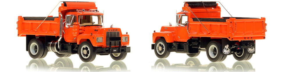 Mack R single axle dump truck scale model is hand-crafted and intricately detailed.Mack R single axle dump truck scale model is hand-crafted and intricately detailed.