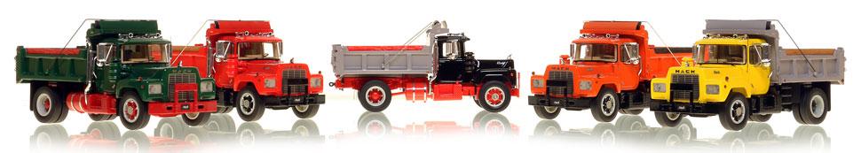 The series of museum grade Mack R single axle dump truck scale models