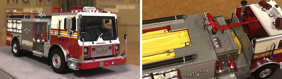 Closeup pictures 1-2 of the FDNY Satellite 1 scale model