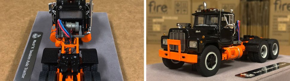 Closeup pictures 3-4 of the Mack R scale model in black over orange