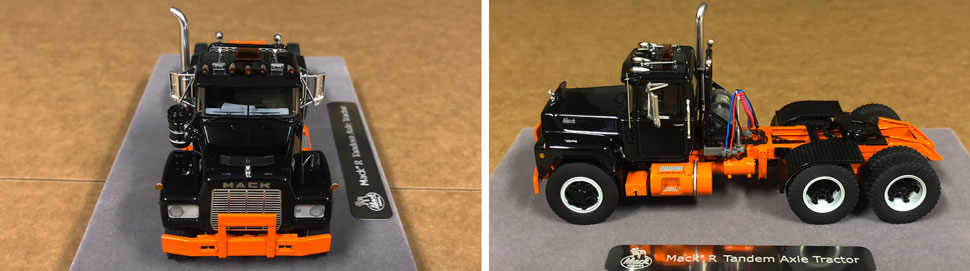 Closeup pictures 5-6 of the Mack R scale model in black over orange