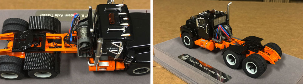 Closeup pictures 7-8 of the Mack R scale model in black over orange