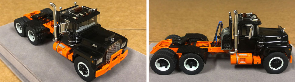 Closeup pictures 9-10 of the Mack R scale model in black over orange
