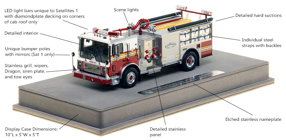 Features and Specs of FDNY Satellite 1 scale model